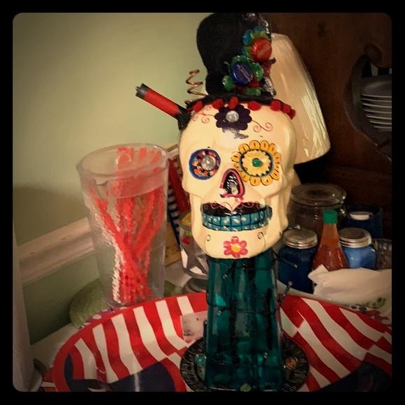 Halloween party centerpiece! Skull,shot out, decor